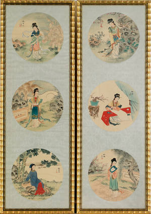 Set of four Chinese painted silk panels