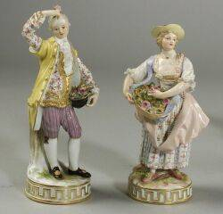 Pair of Meissen Porcelain Figures of Flower Sellers