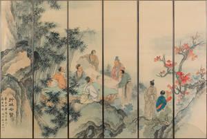 Set of six Asian watercolors