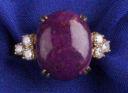 18kt Gold Lavalite and Diamond Ring