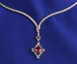 Art Deco Platinum Diamond and Ruby Pendant Necklace