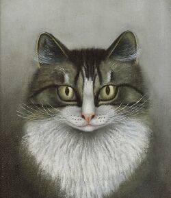 American School 19th Century Portrait of a Gray Tiger Cat