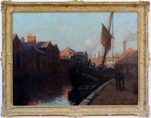 Thomas Trythall Rowe Harbor Landscape Oil