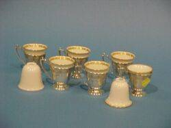 Set of Six Sterling Silver Demitasse Frames and Eight Lenox Porcelain Liners