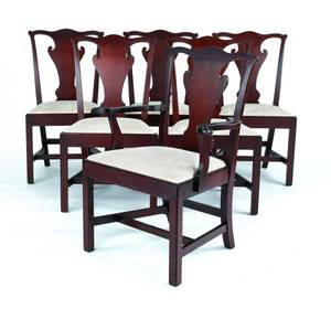 Set of six Baker Williamsburg Chippendale mahogany dining chairs