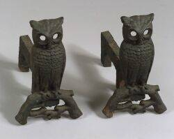 Pair of CastIron Owl Andirons and a Hammered Iron Log Carrier