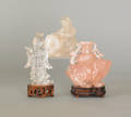 Three Chinese carved quartz figures