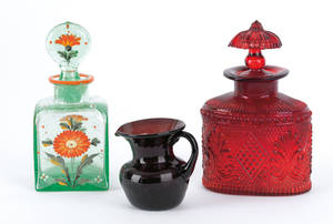 Three pieces of glass to include blown molded ruby scent bottle