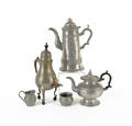 Collection of pewter to include Gleason teapot and Trask lighthouse coffee pot