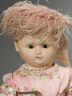 Large Early WaxoverPapier Mache Shoulder Head Doll