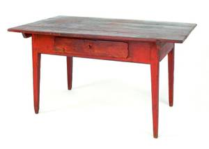 Stained pine farm table
