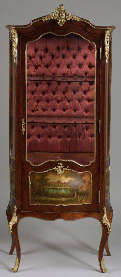 Louis XV style Tulipwood and Gilt Bronze Mounted Vernis Martin Vitrine
