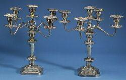 Pair of Silverplated Five Light Convertible Candelabra