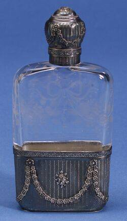 French 950 Silver and Etched Glass Flask