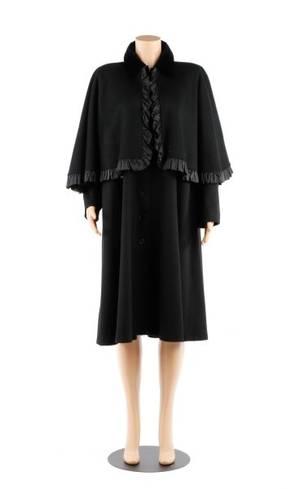 Vintage Saint Laurent Black Wool Cape Coat