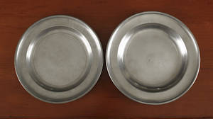 Two New York or Connecticut pewter plates ca 1830