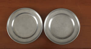 Two Hartford Connecticut pewter plates ca 1800