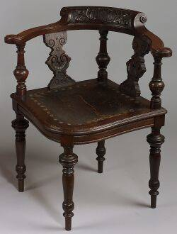 Renaissance Revival Carved Oak Corner Chair