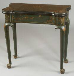 Queen Anne Style Green Japanned and Painted Game Table