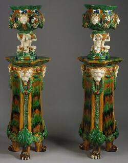 Pair of Majolica Jardinieres on Pedestals