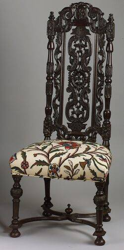 Flemish Baroquestyle Carved Oak Side Chair