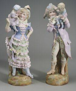 Pair of Large Bisque Figures of a Lady and Gentleman with Children