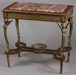Louis XVI Style Gilt Bronze Mounted Mahogany and Marble Top Center Table