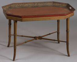Victorian Gilt Stencil Decorated Tole Tray on Later Stand