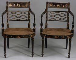 Pair of Regencystyle Japanned Open Armchairs
