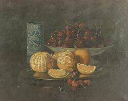 American School 19th Century Still Life with Cherries and Oranges