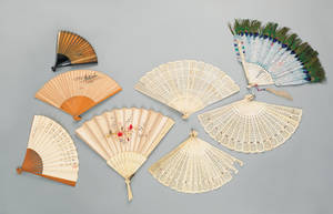 Eight oriental hand fans