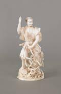 Japanese Meiji period carved elephant tusk ivory figure of a samurai