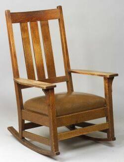 Gustav Stickley Arts  Crafts Oak Rocking Chair