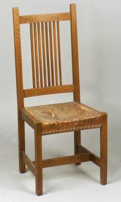 Arts  Crafts Oak Spindle Back Side Chair