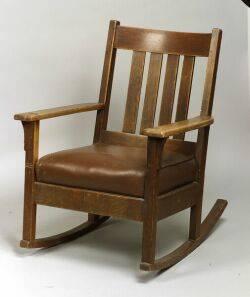 Arts  Crafts Oak Rocking Chair
