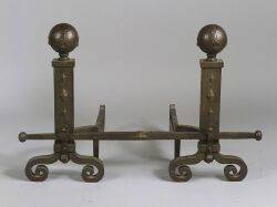 Pair of Bradley and Hubbard Hammered Andirons and Crossbar
