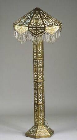 Metal Overlay and Slag Glass Floor Lamp
