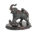 Japanese patinated bronze elephant being attacked by two tigers