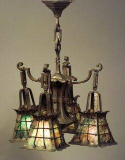 Arts  Crafts Brass Bronze and Leaded Glass Chandelier