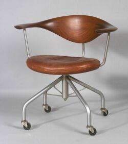 Hans J Wegner Teak and Leather Swivel Chair