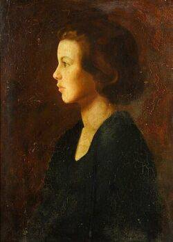 American School 20th Century Portrait of a Young Girl in Profile