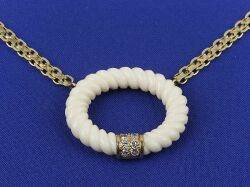 18kt Gold Ivory and Diamond Necklace