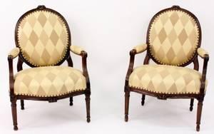 Pair of Louis XVI Style Beechwood Fauteuils