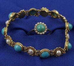 14kt Gold and Turquoise Bracelet and Ring