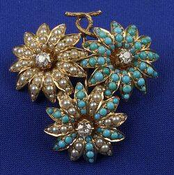 14kt Gold Diamond Turquoise and Pearl Pin