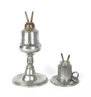 Two New York pewter oil lamps ca 1850