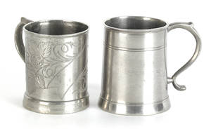 Two New York or New England pewter childs mugs ca 1840