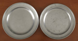Two Boston Massachusetts pewter plates ca 1800