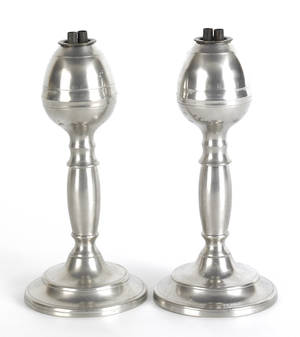 Pair of Dorchester Massachusetts pewter fluid lamps ca 1840