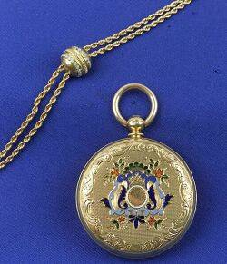 Antique Ladys Gold Hunting Case Pocket Watch and Chain